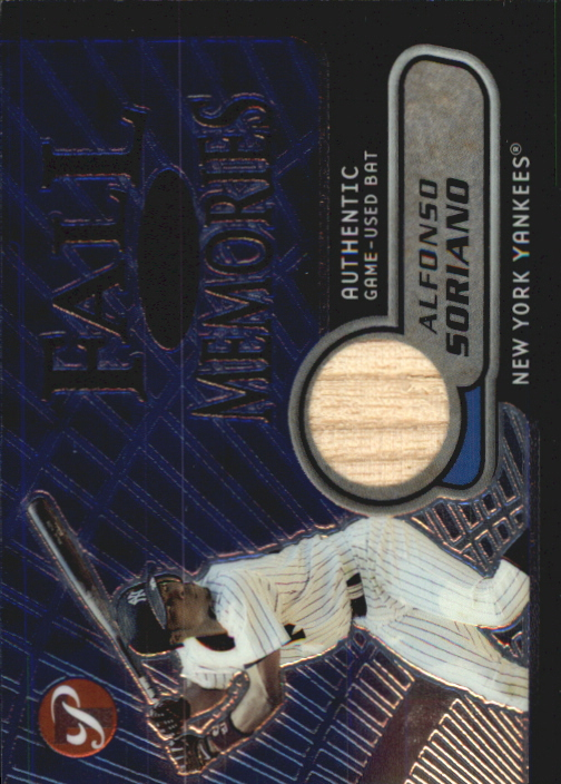 2002 Topps Pristine Fall Memories #AS Alfonso Soriano Bat B