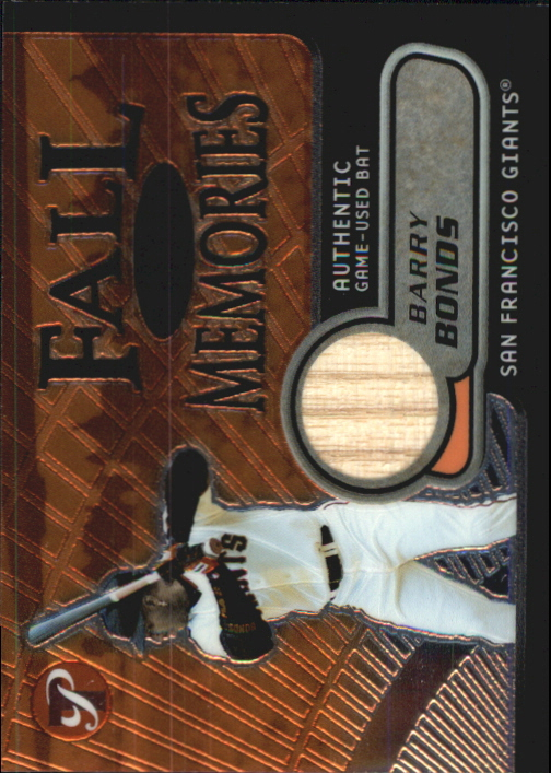 2002 Topps Pristine Fall Memories #BB Barry Bonds Bat A