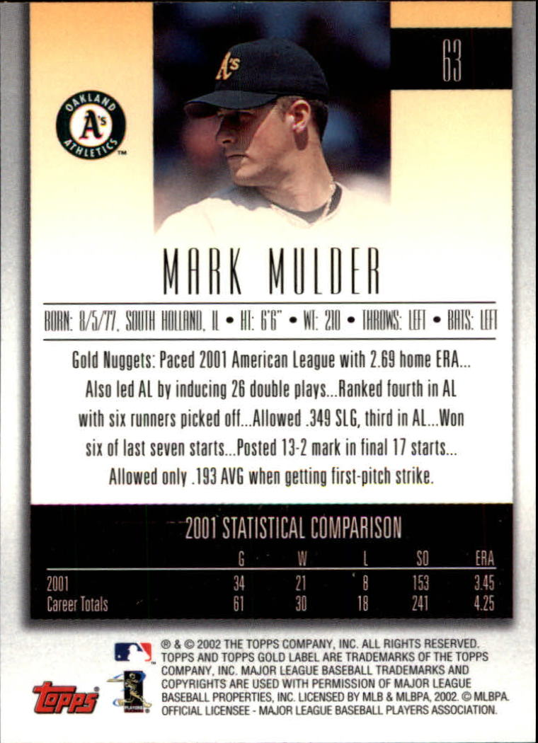 2002 Topps Gold Label #63 Mark Mulder back image