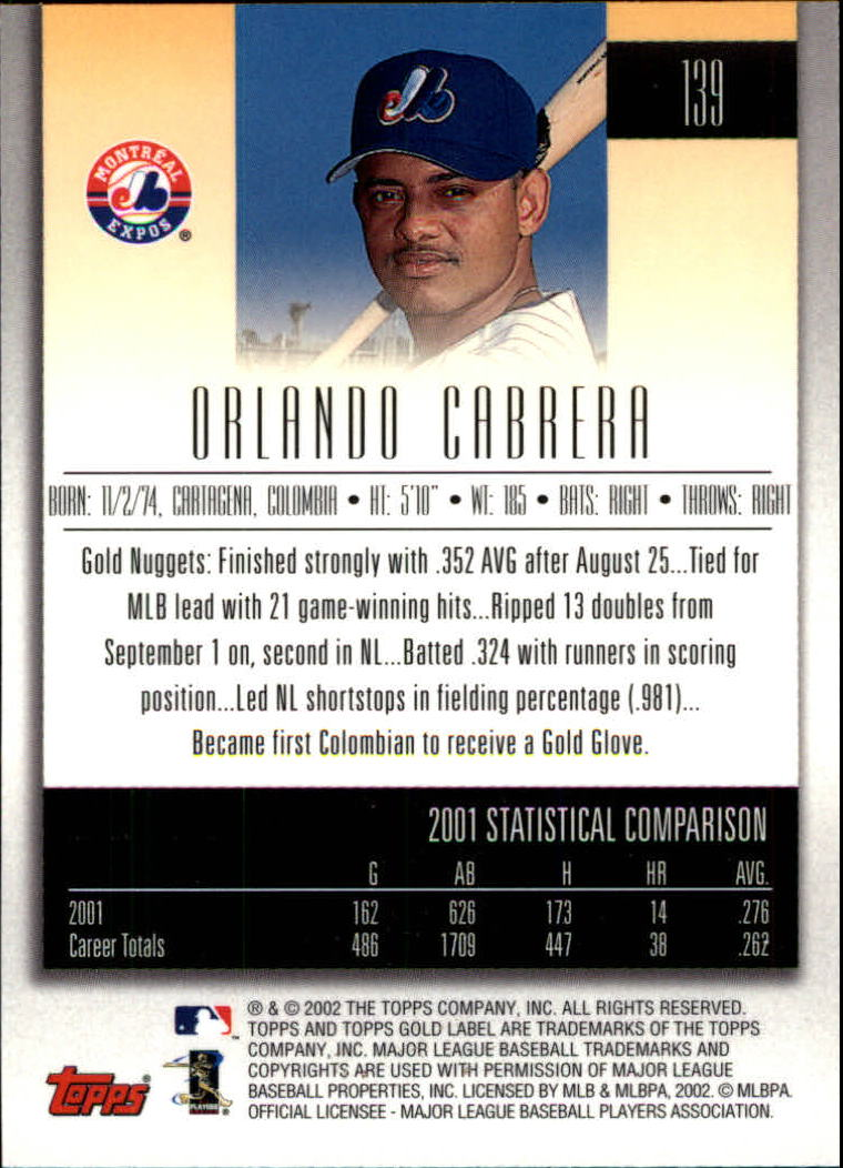2002 Topps Gold Label #139 Orlando Cabrera back image