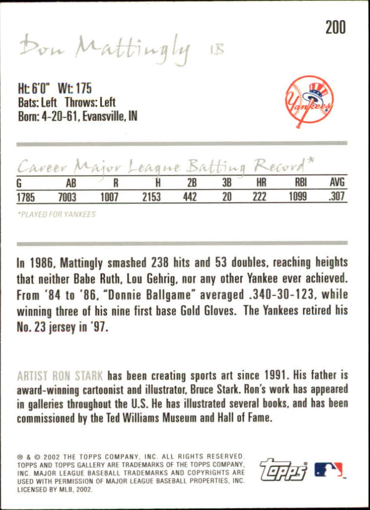 2002 Topps Gallery #200 Don Mattingly RET back image