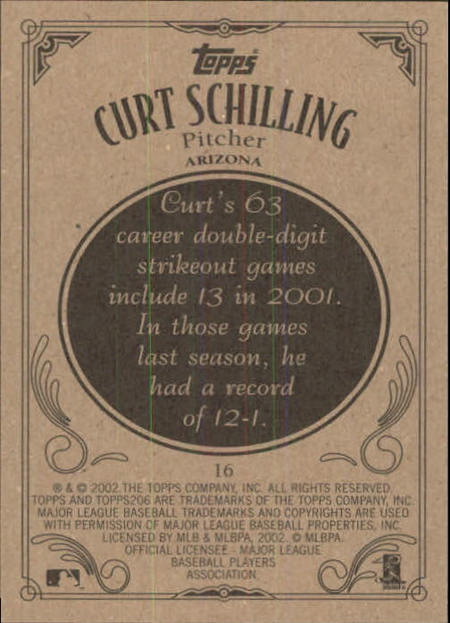 2002 Topps 206 #16 Curt Schilling back image