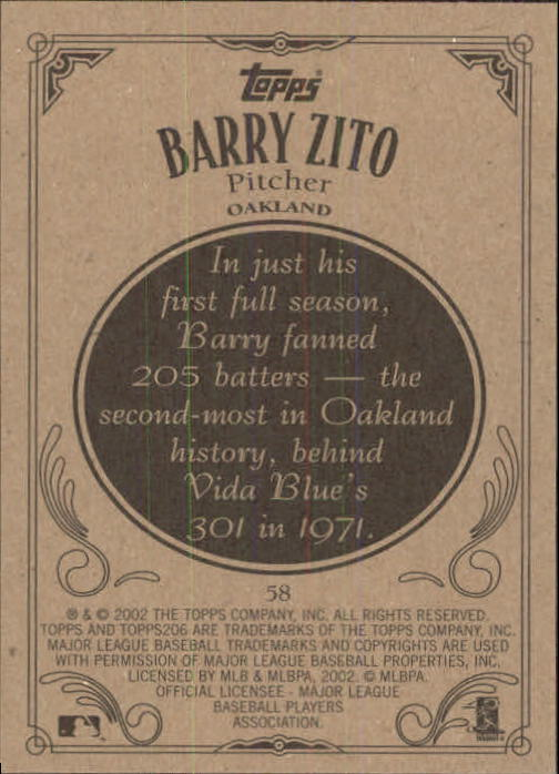 2002 Topps 206 #58 Barry Zito back image