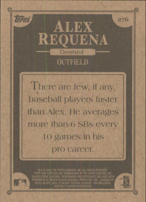 2002 Topps 206 #276 Alex Requena FYP RC