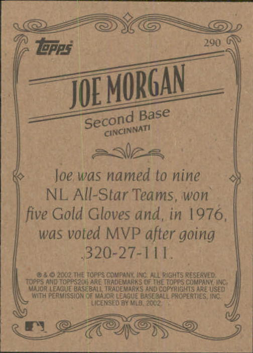 2002 Topps 206 #290 Joe Morgan RET back image