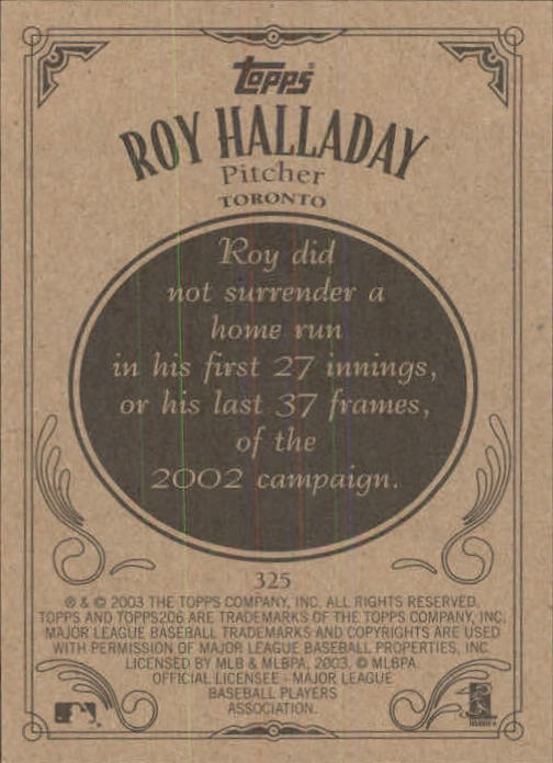 2002 Topps 206 #325 Roy Halladay back image