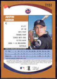 2002 Topps Traded #T151 Justin Huber RC back image