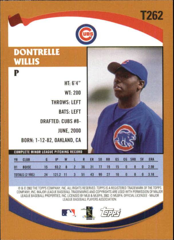 2002 Topps Traded #T262 Dontrelle Willis RC back image