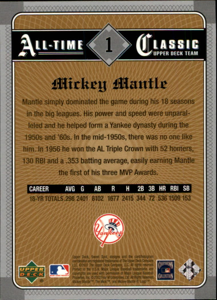 2002 Sweet Spot Classics #1 Mickey Mantle back image