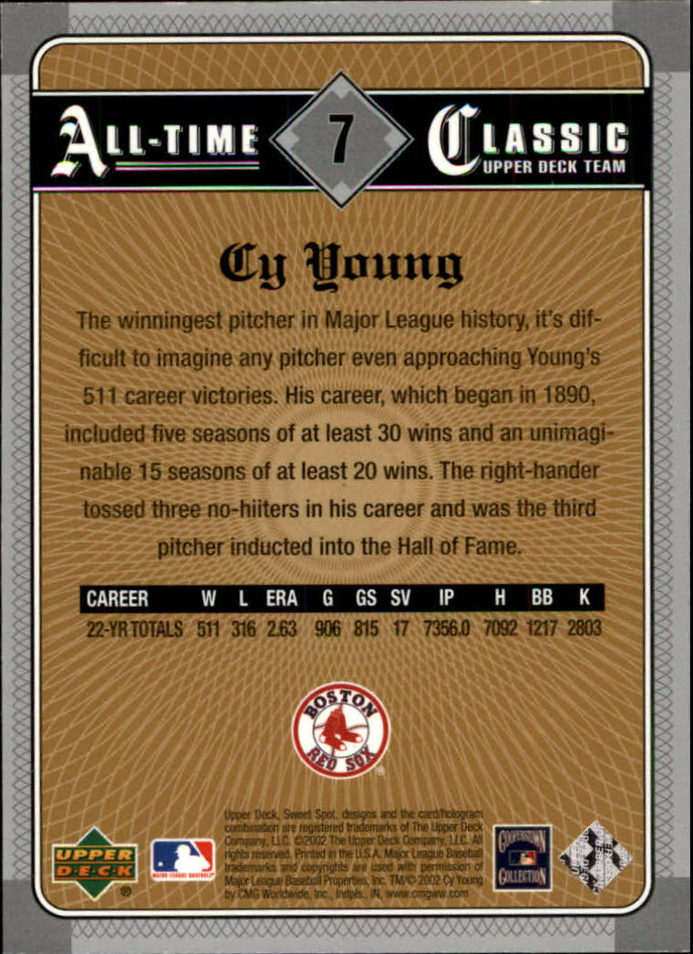 2002 Sweet Spot Classics #7 Cy Young back image