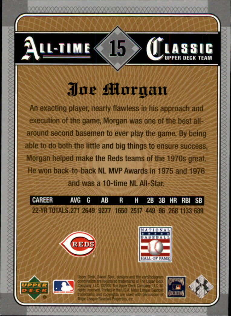 2002 Sweet Spot Classics #15 Joe Morgan back image