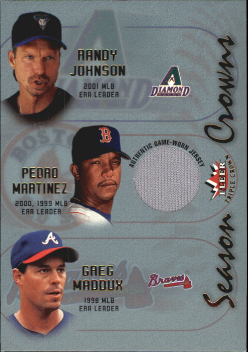 2002 Fleer Triple Crown Season Crowns Game Used #9B Pedro Martinez ERA Jsy/Randy Johnson/Greg Maddux