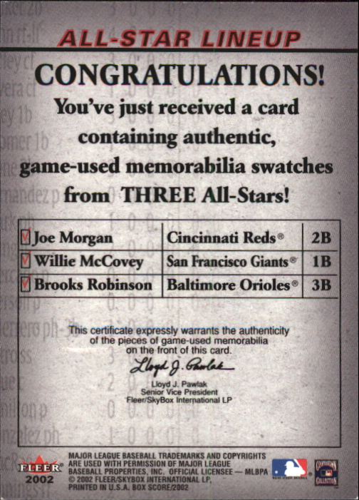 2002 Fleer Box Score All-Star Lineup Game Used #2 Joe Morgan Bat/Willie McCovey Jsy/Brooks Robinson Bat back image