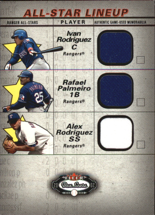2002 Fleer Box Score All-Star Lineup Game Used #3 Ivan Rodriguez Jsy/Rafael Palmeiro Bat/Alex Rodriguez Jsy