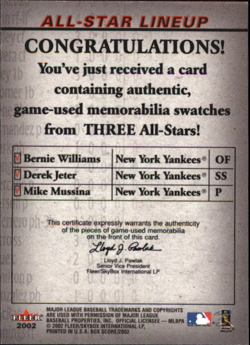 2002 Fleer Box Score All-Star Lineup Game Used #4 Bernie Williams Jsy/Derek Jeter Bat/Mike Mussina Jsy back image