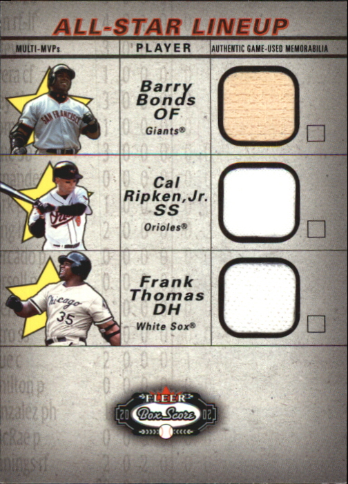 2002 Fleer Box Score All-Star Lineup Game Used #5 Barry Bonds Bat/Cal Ripken Jsy/Frank Thomas Jsy