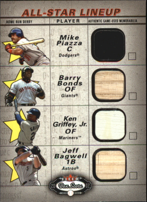 2002 Fleer Box Score All-Star Lineup Game Used #7 Mike Piazza Jsy/Barry Bonds Bat/Ken Griffey Jr. Base/Jeff Bagwell Bat