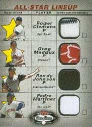 2002 Fleer Box Score All-Star Lineup Game Used #8 Roger Clemens Jsy/Greg Maddux Jsy/Randy Johnson Jsy/Pedro Martinez Jsy