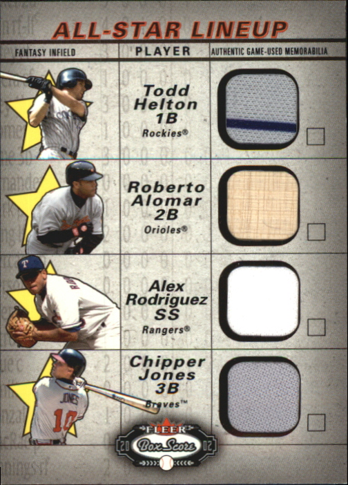 2002 Fleer Box Score All-Star Lineup Game Used #9 Todd Helton Jsy/Roberto Alomar Bat/Alex Rodriguez Jsy/Chipper Jones Jsy
