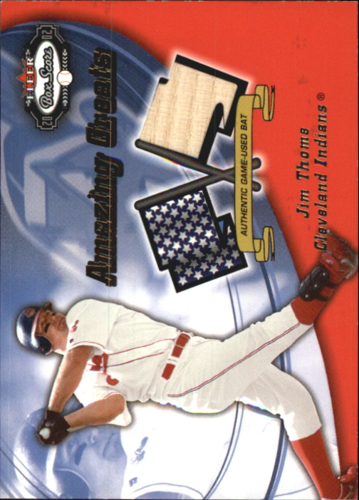 2002 Fleer Box Score Amazing Greats Single Swatch #15 Jim Thome Bat