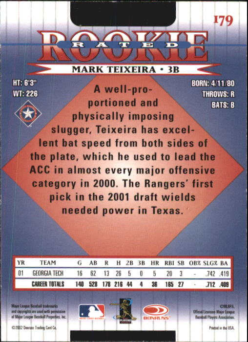 2002 Donruss #179 Mark Teixeira RR back image