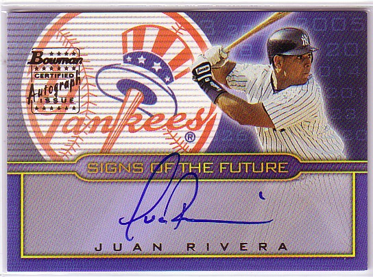 2002 Bowman Draft Signs of the Future #JR Juan Rivera B