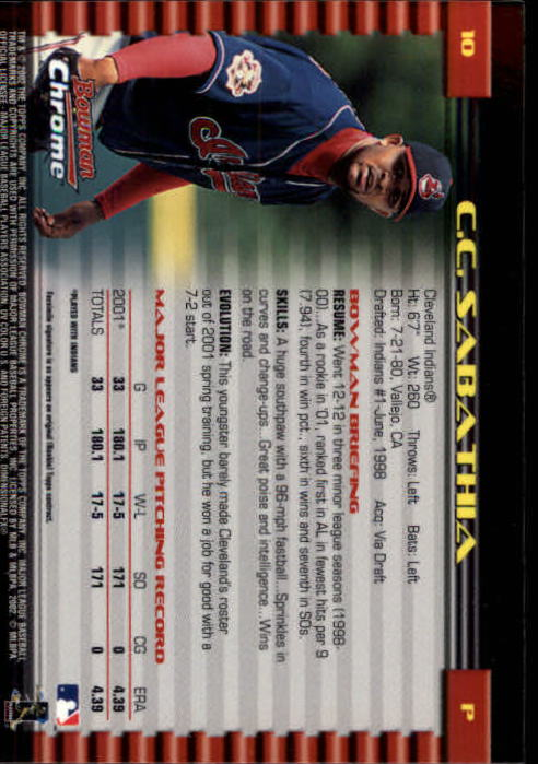 2002 Bowman Chrome #10 C.C. Sabathia back image