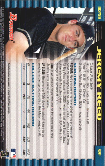 2002 Bowman Draft #BDP59 Jeremy Reed RC back image