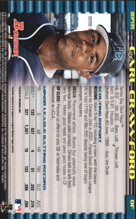 2002 Bowman Draft #BDP139 Carl Crawford back image