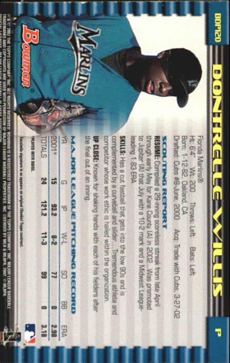 2002 Bowman Draft Gold #BDP120 Dontrelle Willis back image