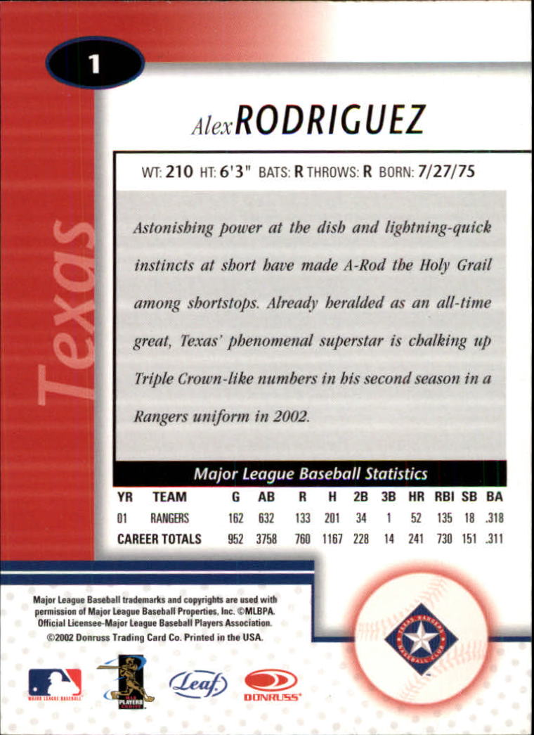 2002 Leaf Certified #1 Alex Rodriguez back image