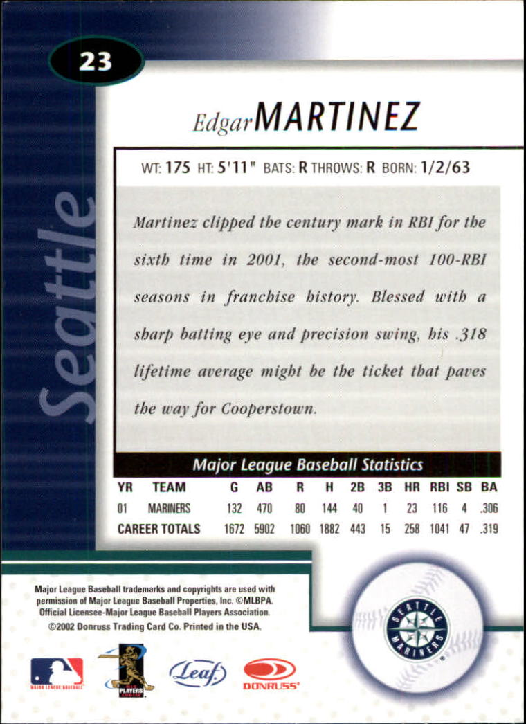 2002 Leaf Certified #23 Edgar Martinez back image