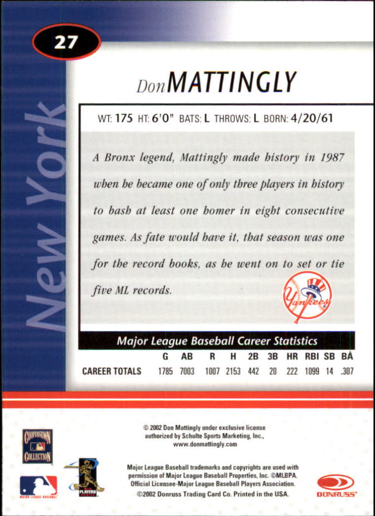 2002 Leaf Certified #27 Don Mattingly back image