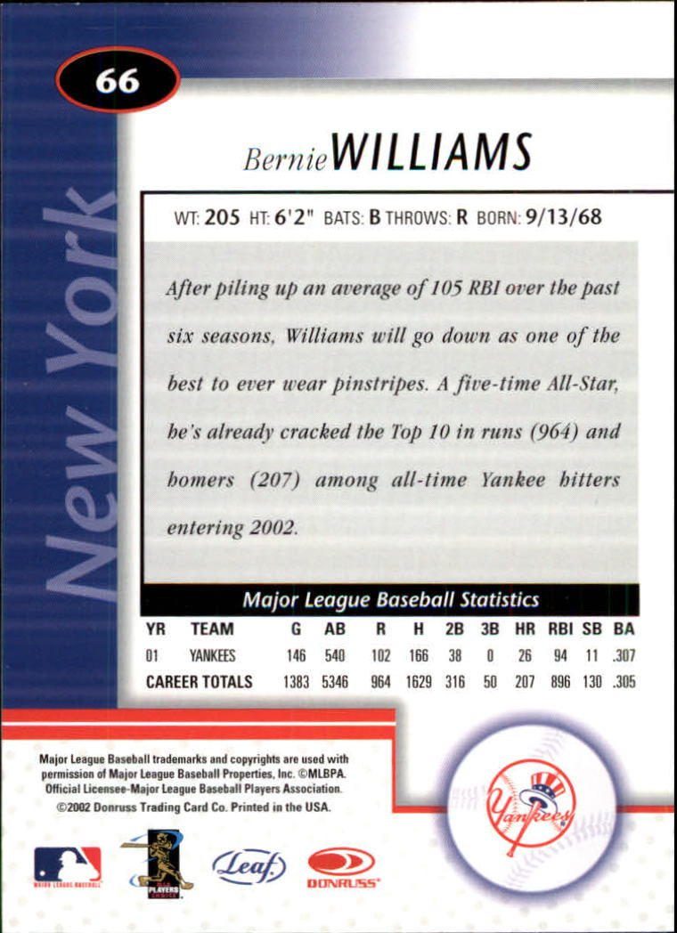 2002 Leaf Certified #66 Bernie Williams back image