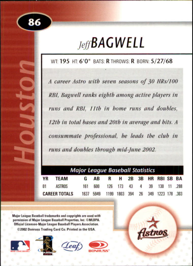 2002 Leaf Certified #86 Jeff Bagwell back image