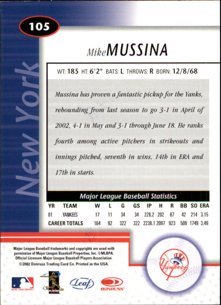 2002 Leaf Certified #105 Mike Mussina back image