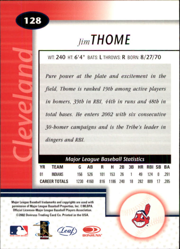 2002 Leaf Certified #128 Jim Thome back image