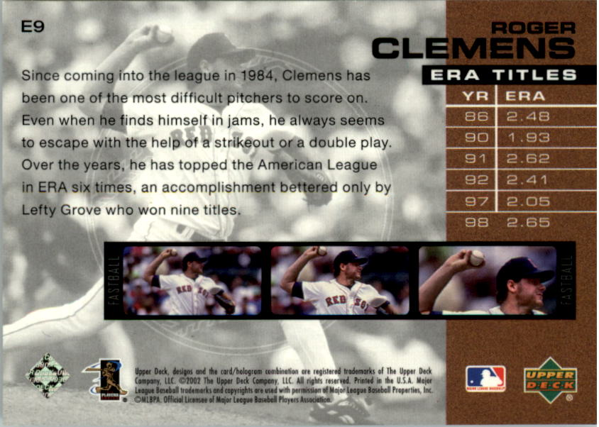 2002 UD Piece of History ERA Leaders #E9 Roger Clemens back image