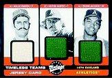 2002 Upper Deck Vintage Timeless Teams Game Jersey Combos #OAK Rollie Fingers/Catfish Hunter/Reggie Jackson