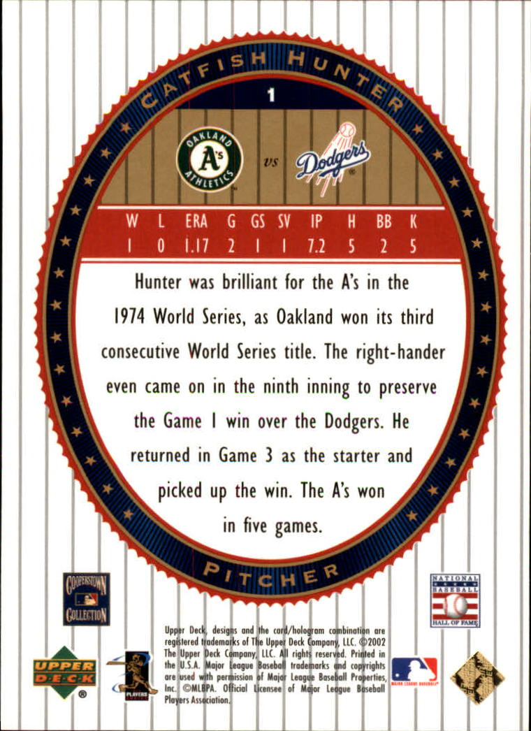 2002 Upper Deck World Series Heroes #1 Catfish Hunter back image