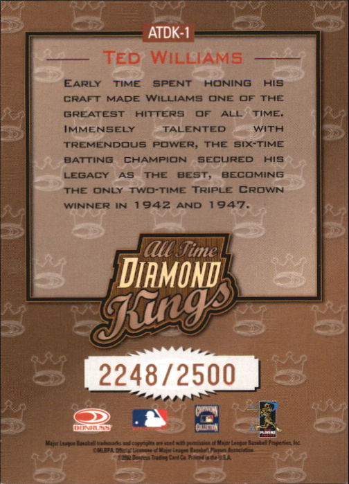 2002 Donruss All-Time Diamond Kings #1 Ted Williams back image