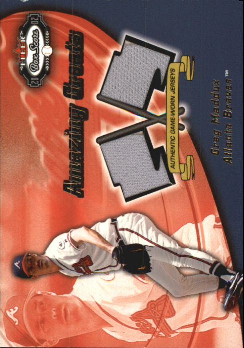 2002 Fleer Box Score Amazing Greats Dual Swatch #8 Greg Maddux
