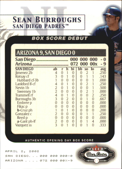 2002 Fleer Box Score Debuts #4 Sean Burroughs