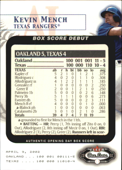 2002 Fleer Box Score Debuts #8 Kevin Mench