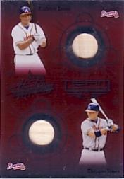 2002 Absolute Memorabilia Team Tandems Materials #3 Chipper Jones Bat/Andruw Jones Bat