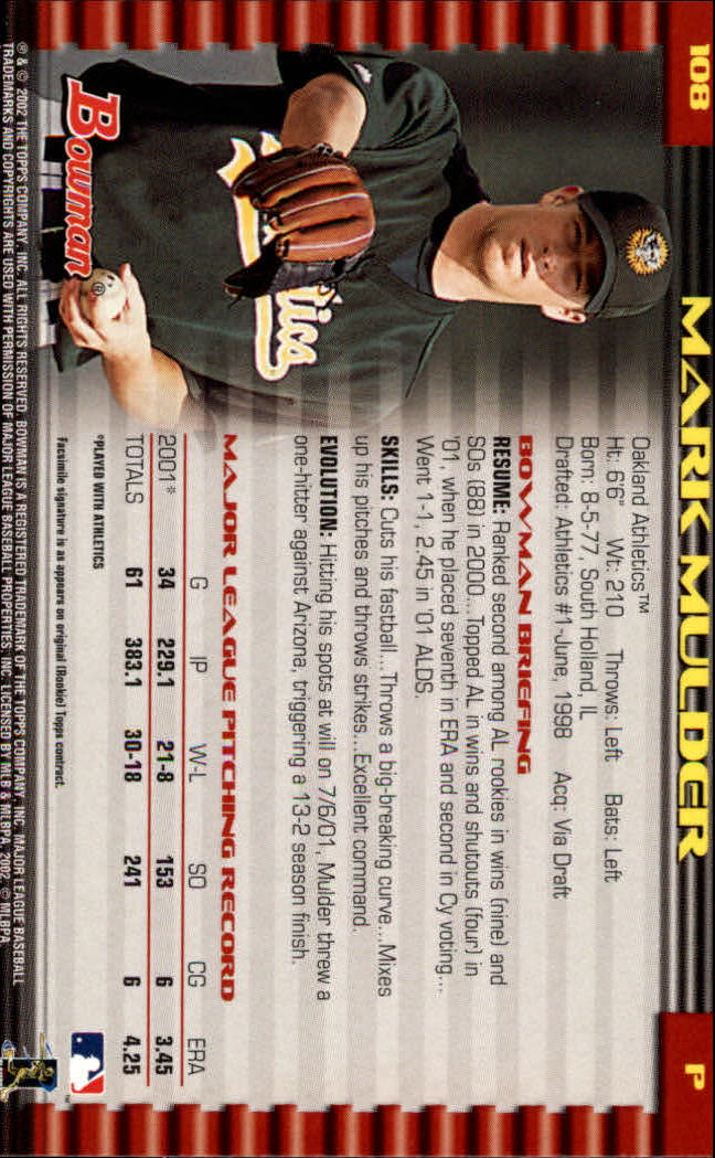 2002 Bowman #108 Mark Mulder back image