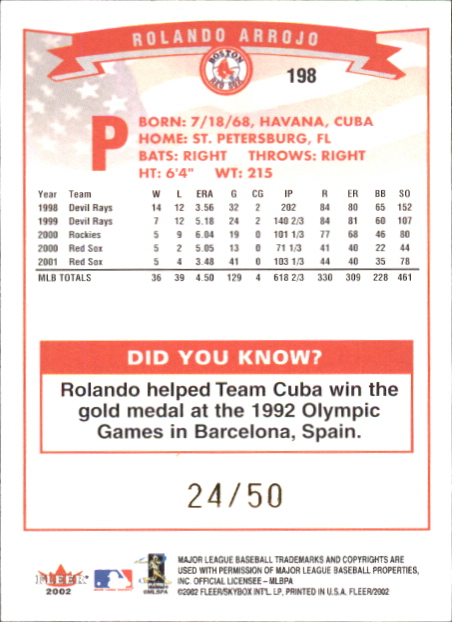2002 Fleer Mini #198 Rolando Arrojo