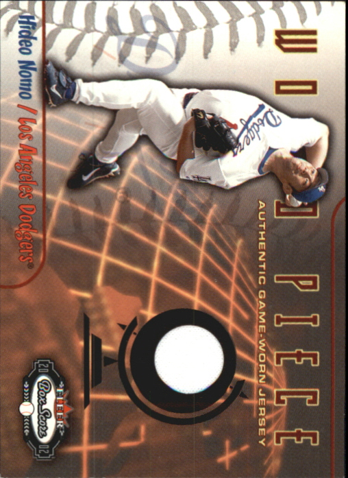 2002 Fleer Box Score World Piece Game Used #3 Hideo Nomo Jsy