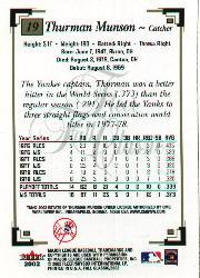 2002 Fleer Fall Classics #19 Thurman Munson back image