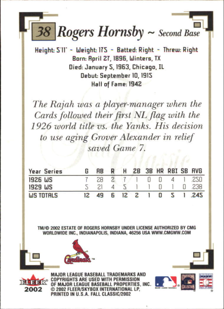 2002 Fleer Fall Classics #38 Rogers Hornsby back image